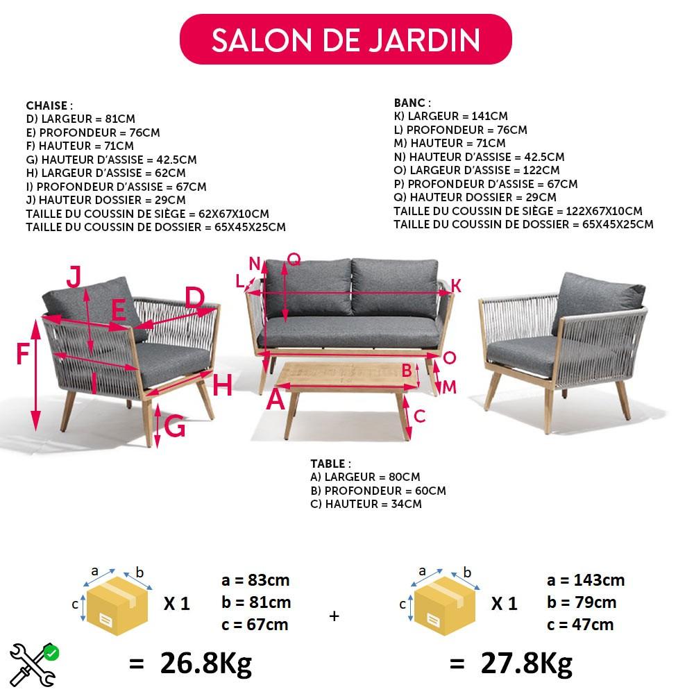 Salon De Jardin Gris Et Naturel Azur 4 Personnes à Salon De Jardin Gifi Catalogue