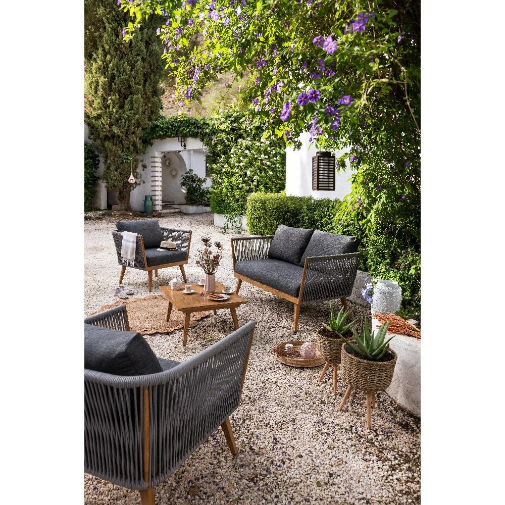 Salon De Jardin Gris Et Naturel Azur 4 Personnes serapportantà Mobilier De Jardin Gifi