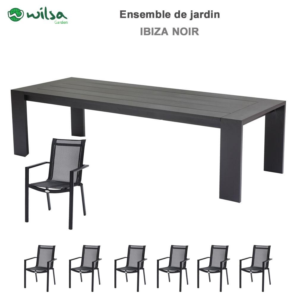 Salon De Jardin Ibiza 8/10 Places Noir destiné Salon De Jardin 10 Personnes