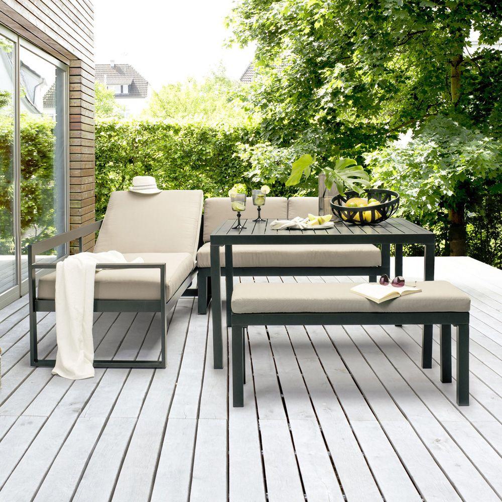 Salon De Jardin Kettler Océan : Canapé D'angle + Table + Banc encequiconcerne Kettler Mobilier De Jardin