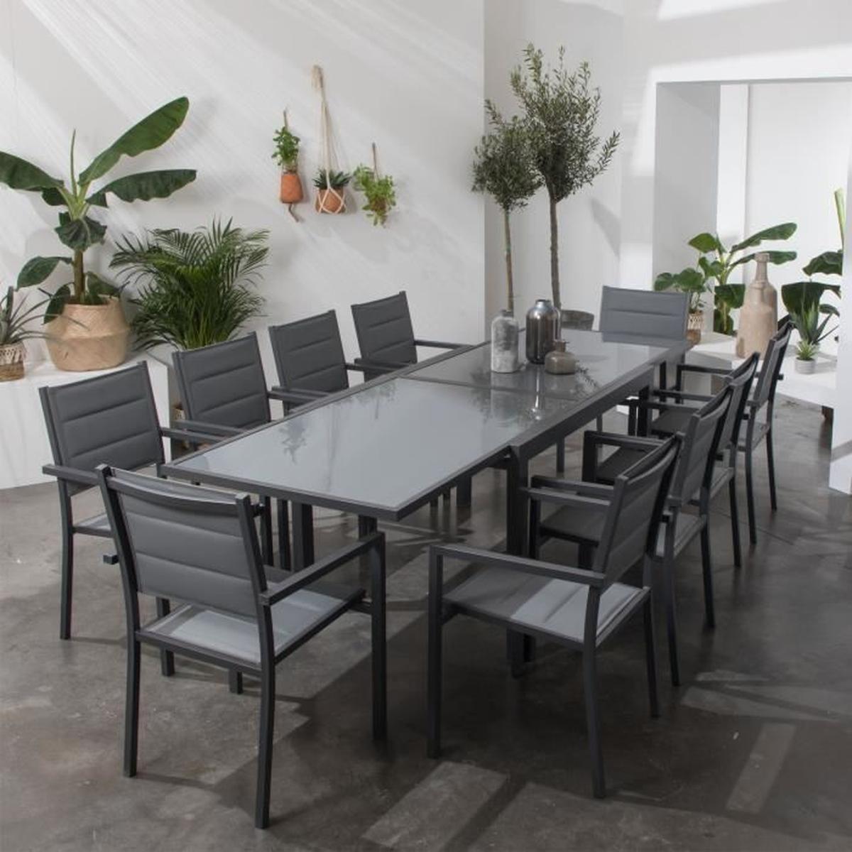 Salon De Jardin Lampedusa Extensible En Textilène Gris 10 ... destiné Salon De Jardin C Discount