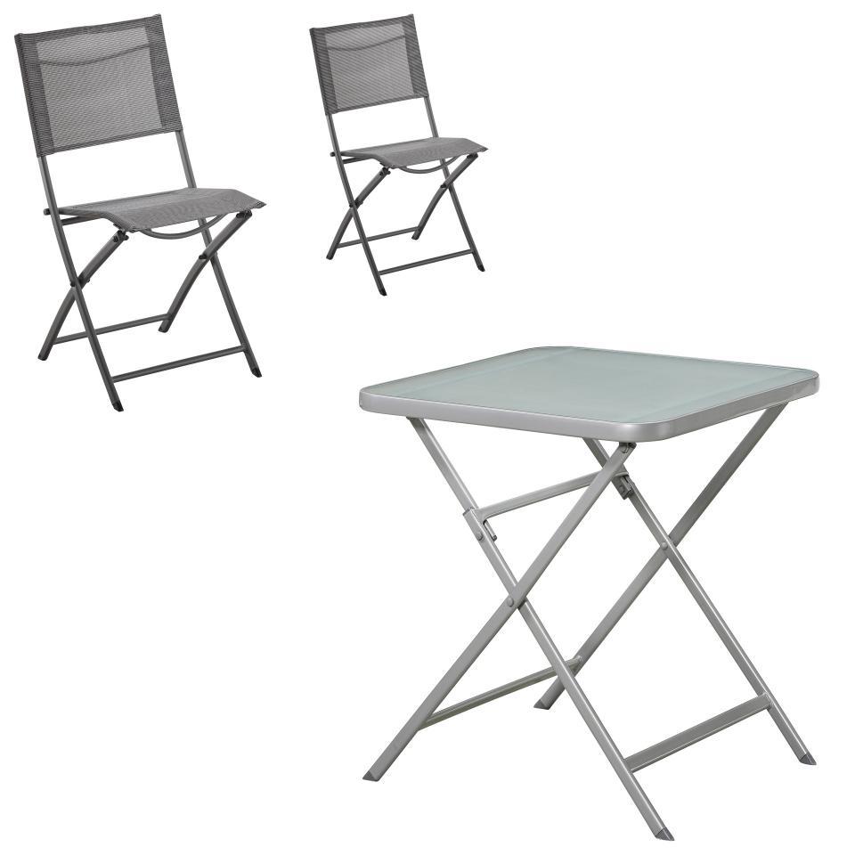 Salon De Jardin «Lazio/mexico» (1 Table Pliante, 2 Chaises Pliantes) encequiconcerne Salon De Jardin Pliant