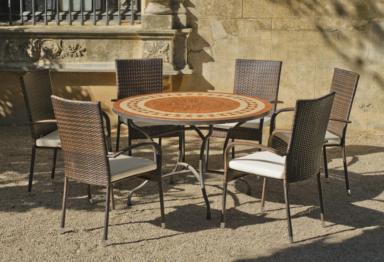 Salon De Jardin Lorny-Bergamo 6 Places | Table Mosaique ... intérieur Salon De Jardin Mosaique