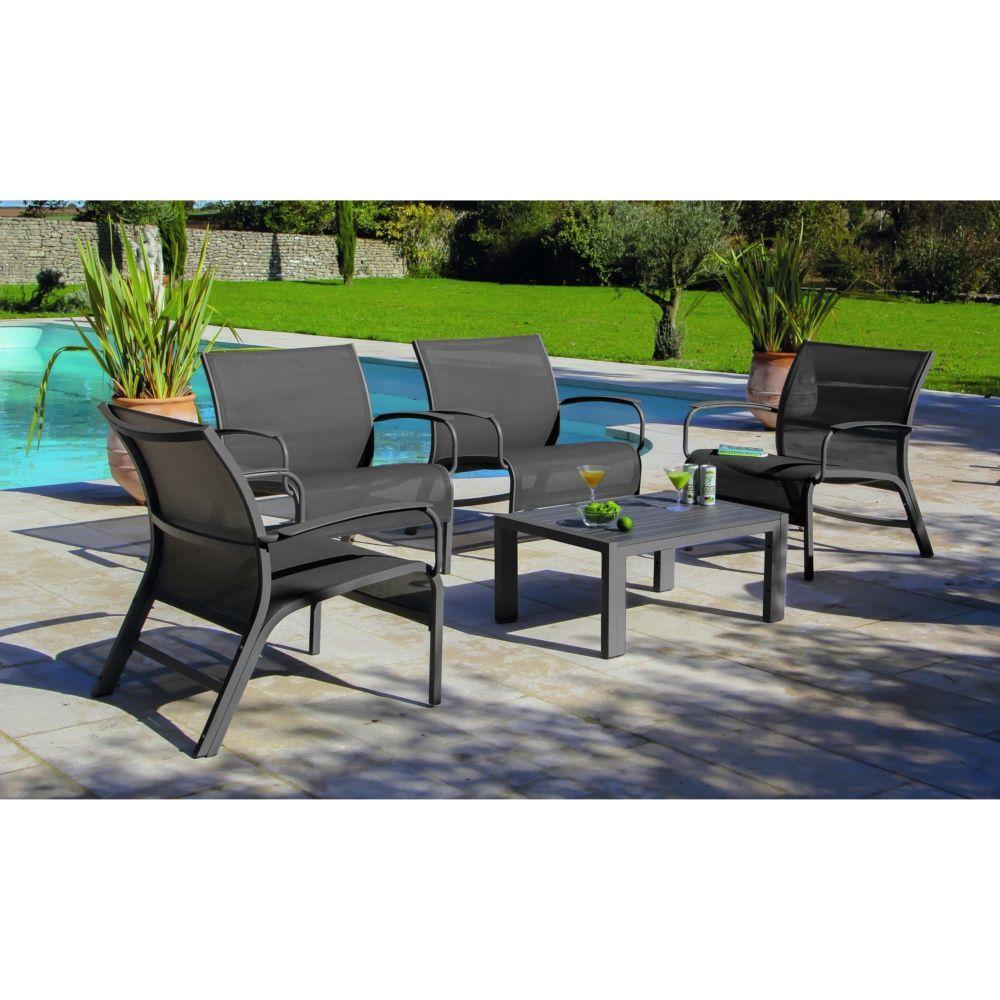 Salon De Jardin Lounge Linea : Table Basse + 4 Fauteuils  Aluminium/textilène Gris destiné Salon De Jardin Bas Aluminium