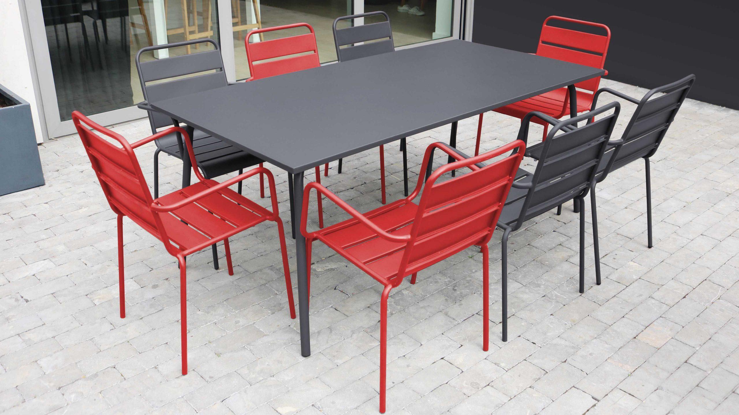 Salon De Jardin Metal Table Et Fauteuils avec Table De Jardin Promo