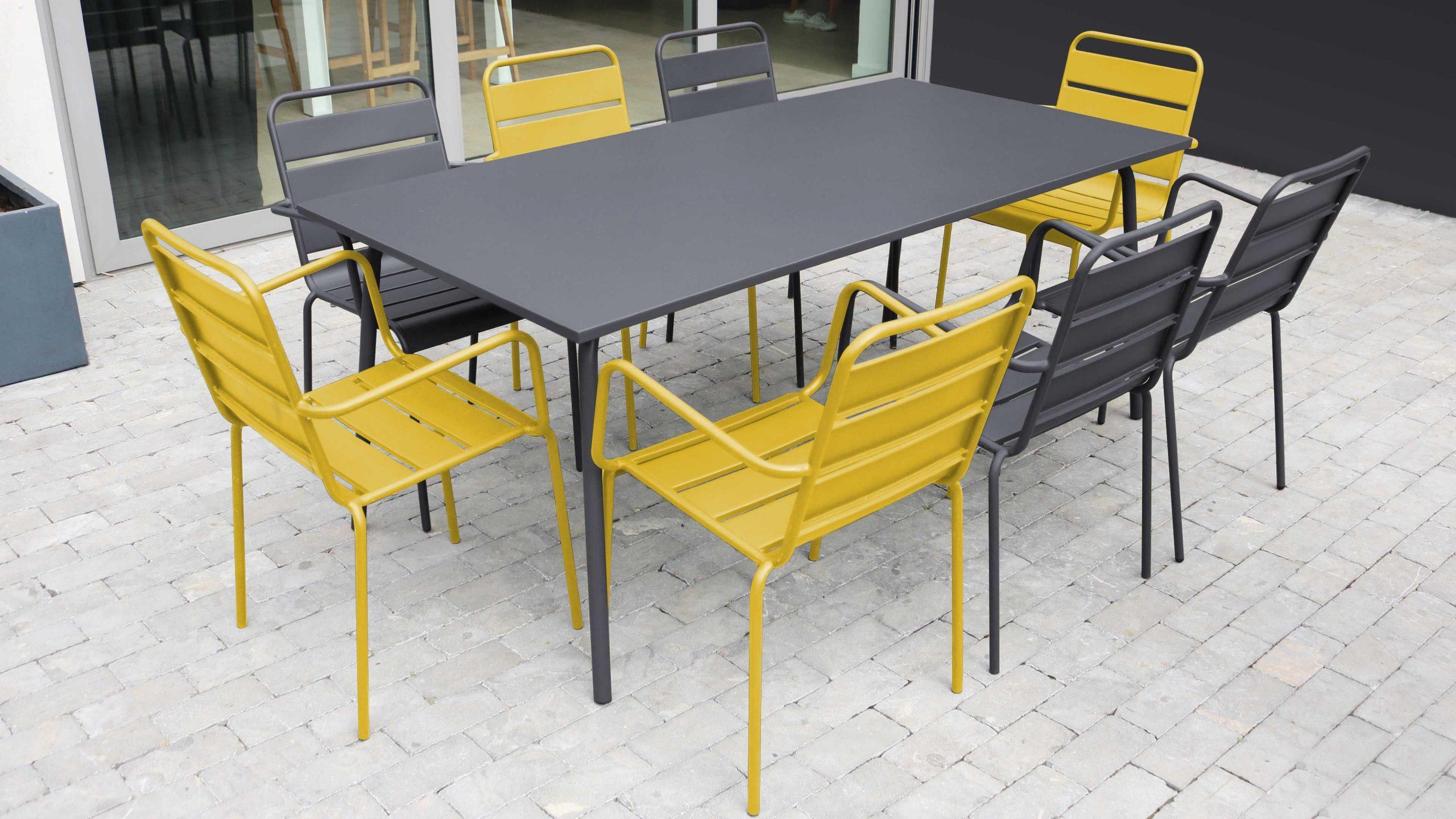 Salon De Jardin Metal Table Et Fauteuils concernant Salon De Jardin Table Haute