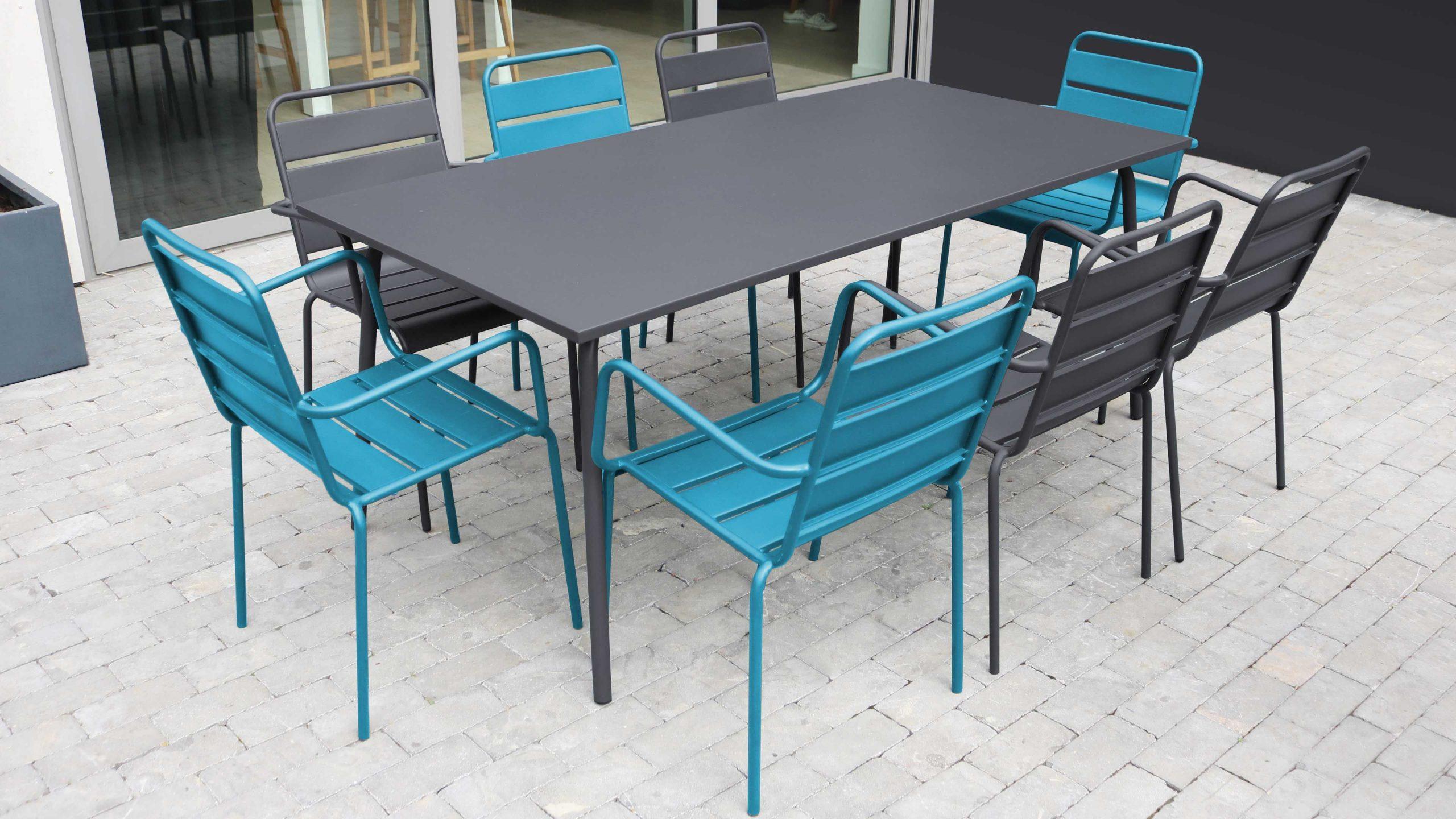 Salon De Jardin Metal Table Et Fauteuils destiné Table De Jardin Avec Chaise Pas Cher