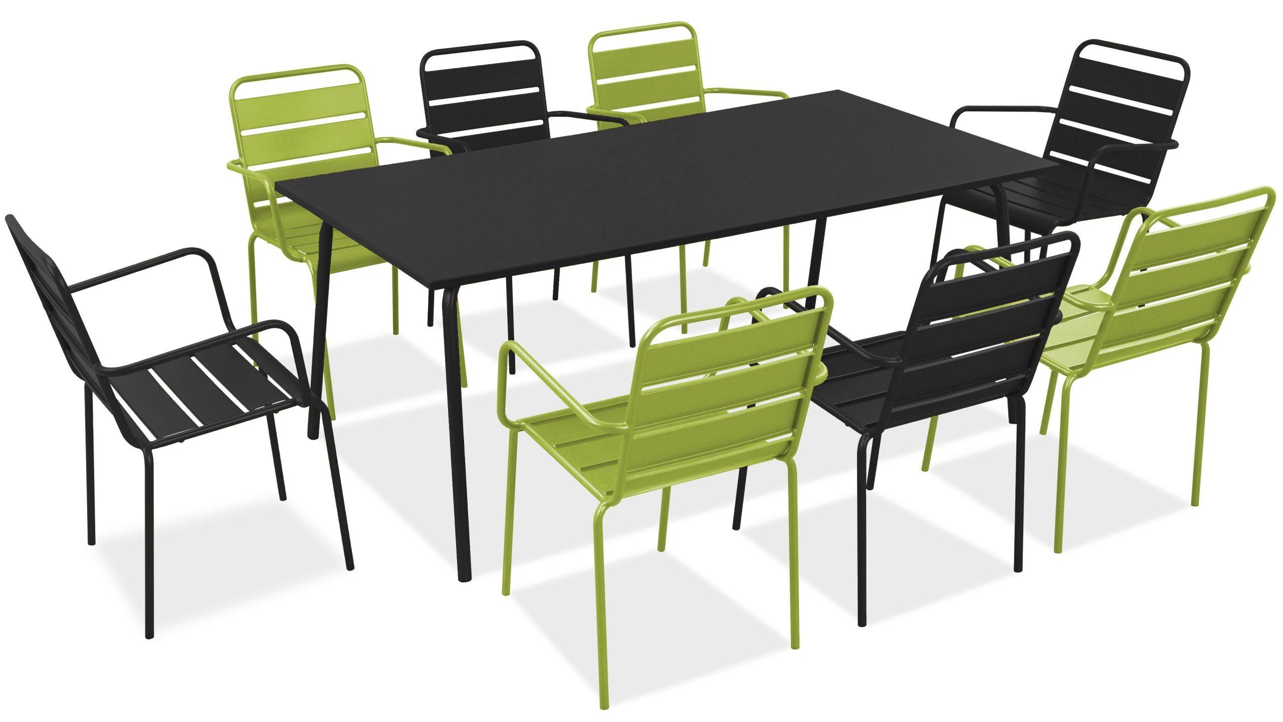 Salon De Jardin Metal Table Et Fauteuils destiné Table De Jardin Verte