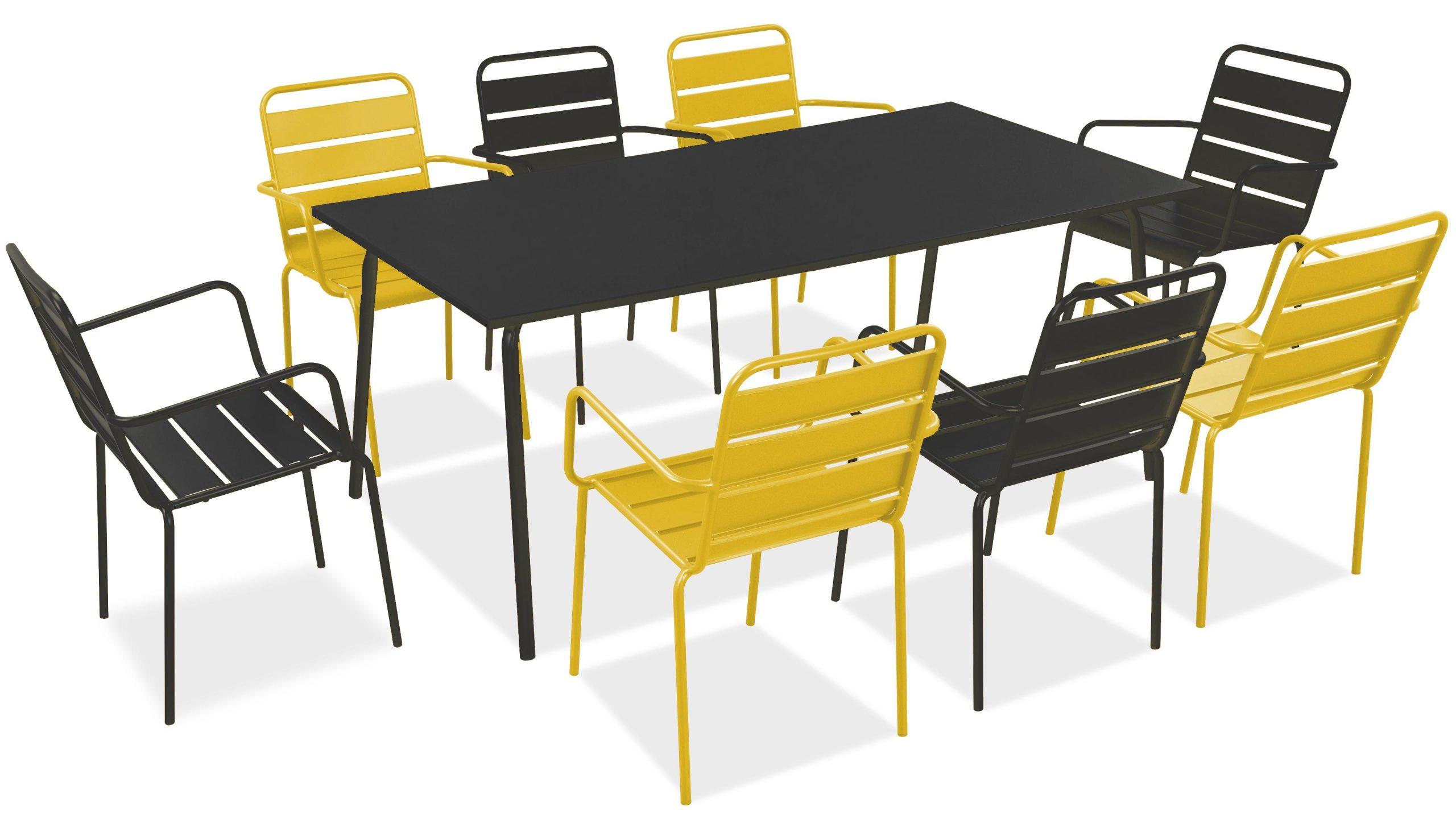 Salon De Jardin Metal Table Et Fauteuils encequiconcerne Table Jardin Verte