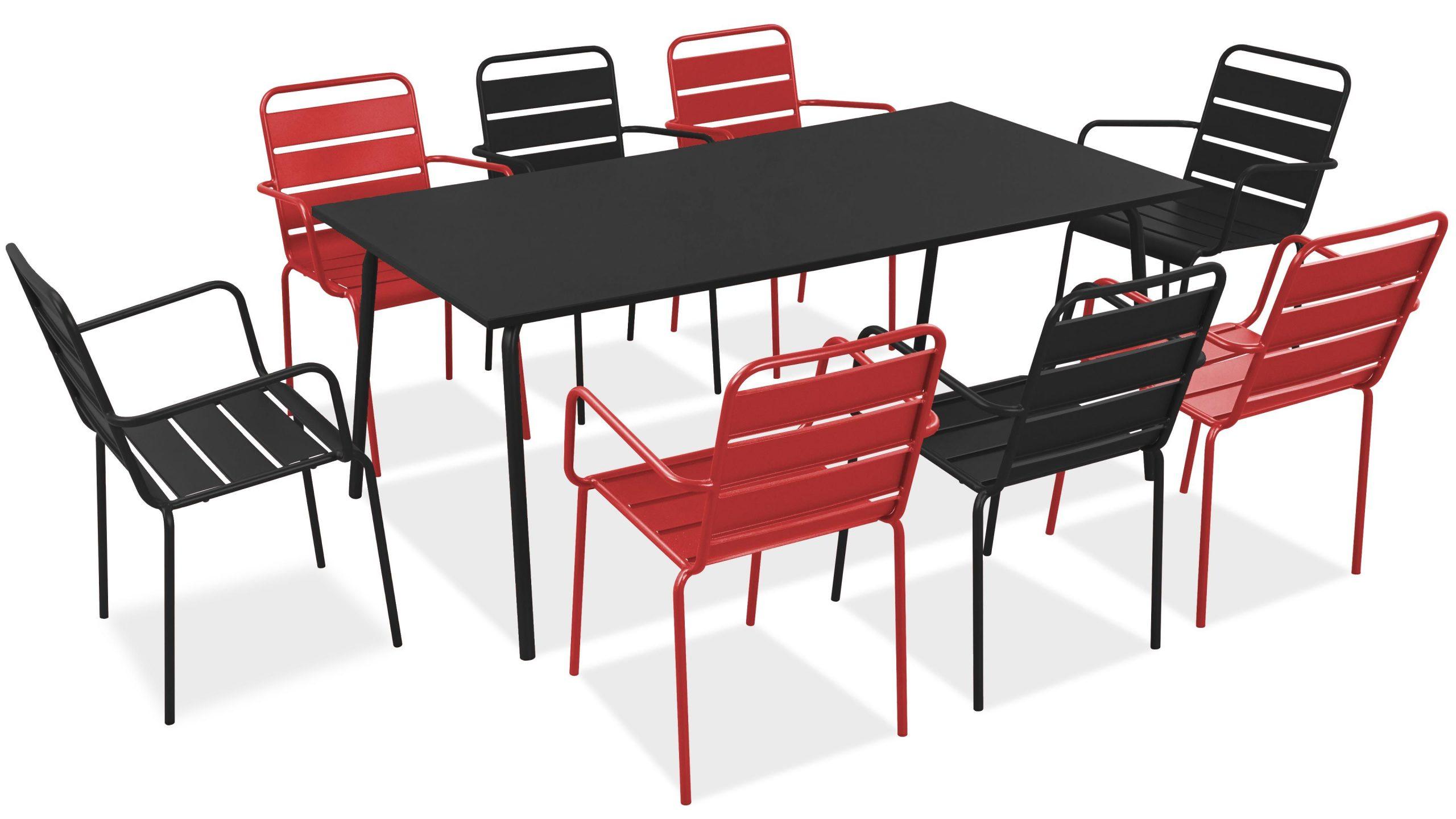 Salon De Jardin Metal Table Et Fauteuils serapportantà Salon De Jardin Gris Pas Cher