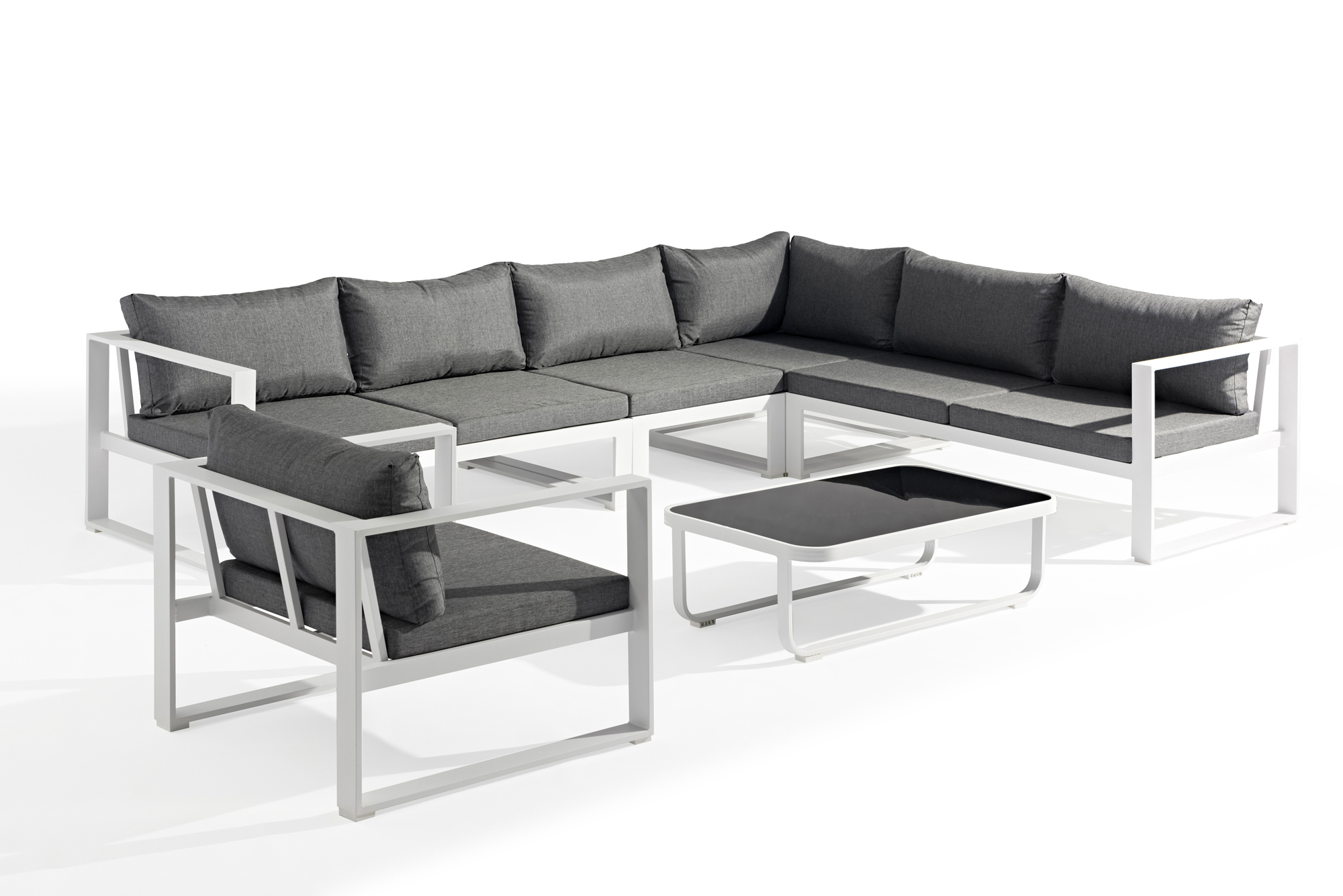 Salon De Jardin Miami 6 Pièces En Aluminium Blanc Gris Et Coussins Tissu  Gris avec Salon De Jardin Aluminium Blanc