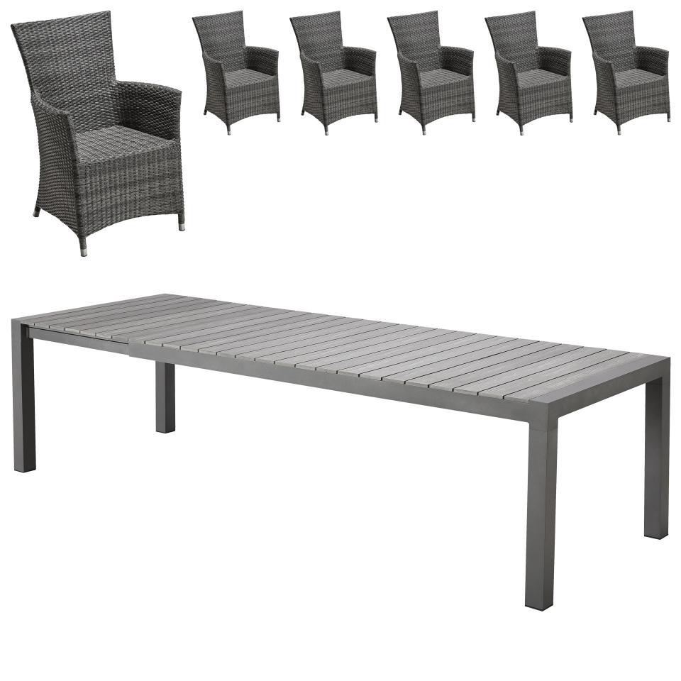 Salon De Jardin «Miami Xxl/kansas» (95X205-275, 6 Chaises) destiné Table De Jardin Xxl
