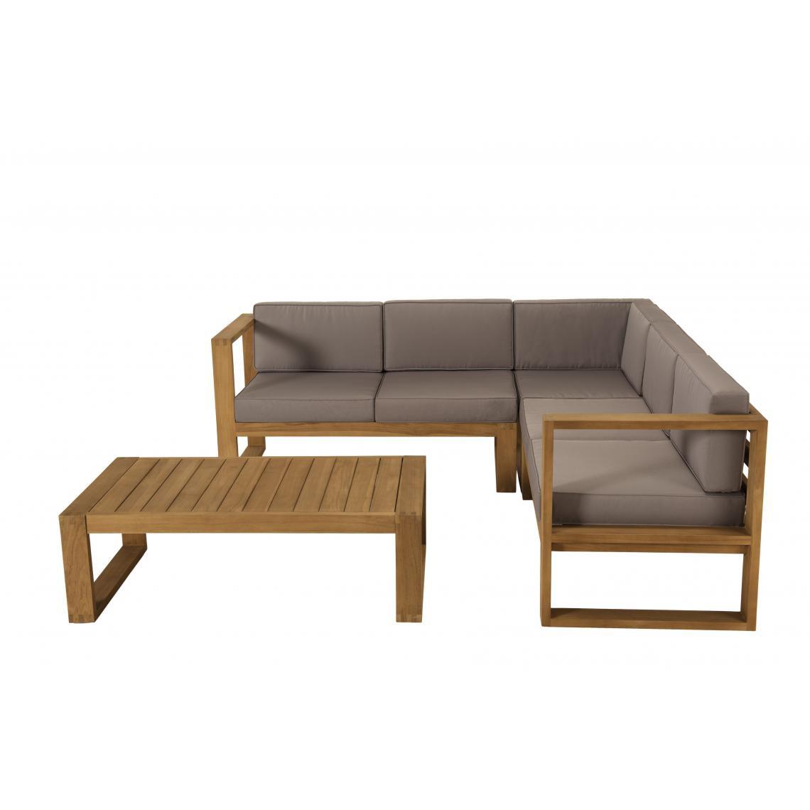 Salon De Jardin Minorque Table Basse Teck + Canapé D'angle 5 Places destiné Canapé Teck Jardin