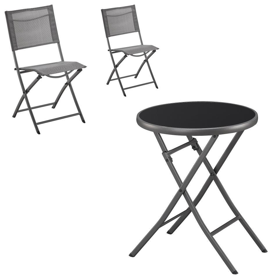 Salon De Jardin «Mira/mexico» (Table Pliante, 2 Chaises, Gris) encequiconcerne Tables De Jardin Pliantes
