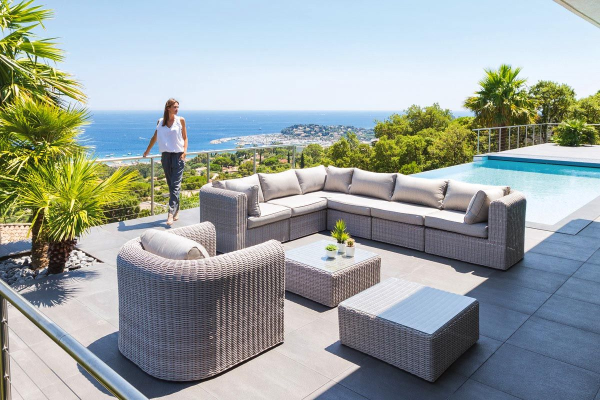 Salon De Jardin Modulable Libertad Grege | Outdoor Furniture ... à Salon De Jardin Artelia