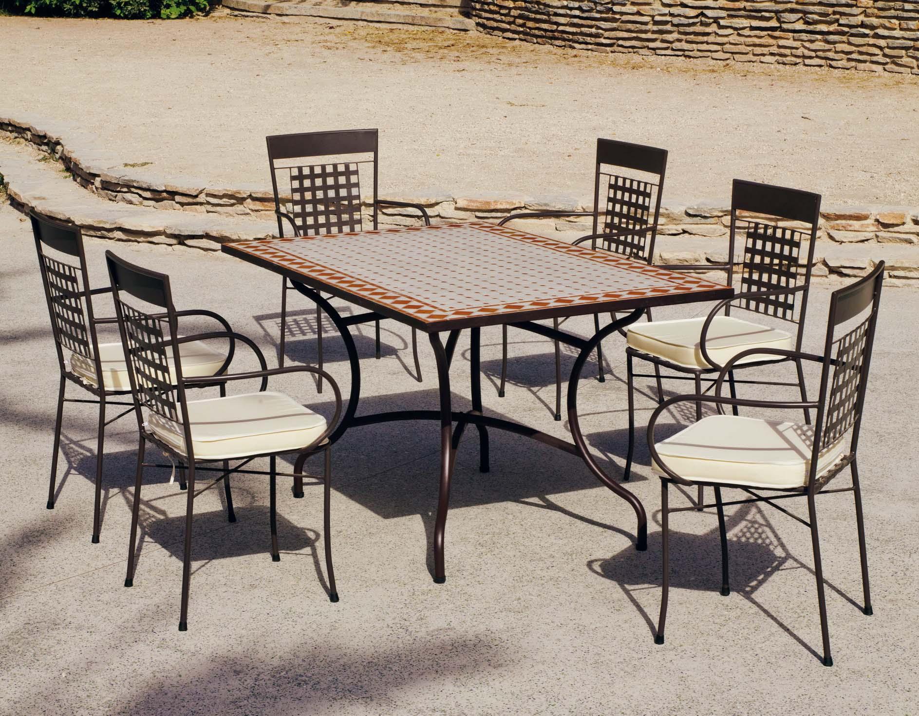 Salon De Jardin Mosaïque Table Rectangulaire Atrium Vigo encequiconcerne Salon Jardin Mosaique