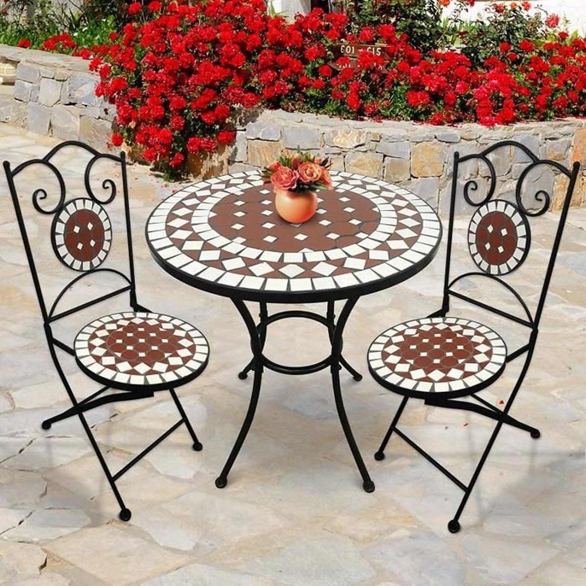 Salon De Jardin Mosaïque   Table Ronde (Ø/h: 60X70Cm) Et 2 ... avec Salon De Jardin Mosaique