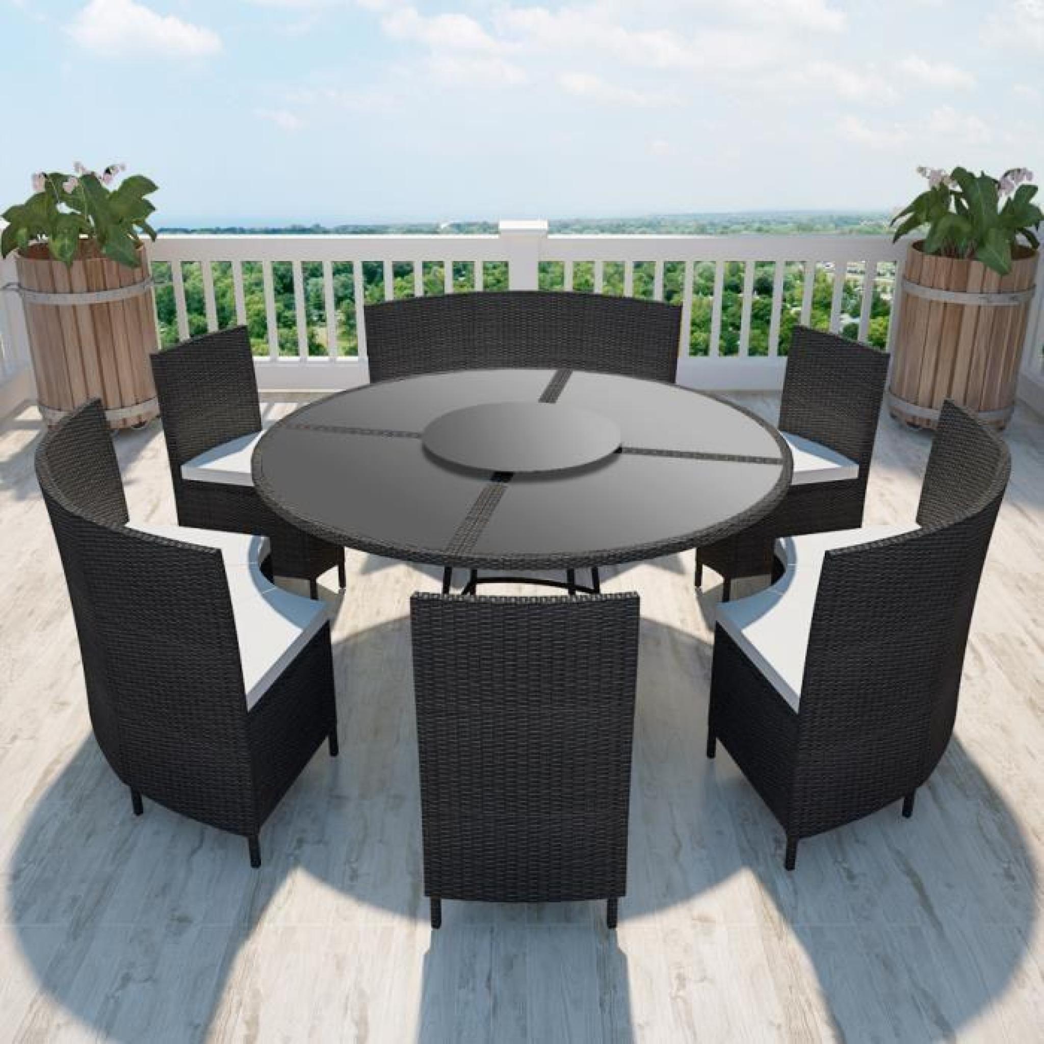Salon De Jardin Noir En Polyrotin Table Ronde Et Chaises 12 Pers. intérieur Salon De Jardin Rond Pas Cher