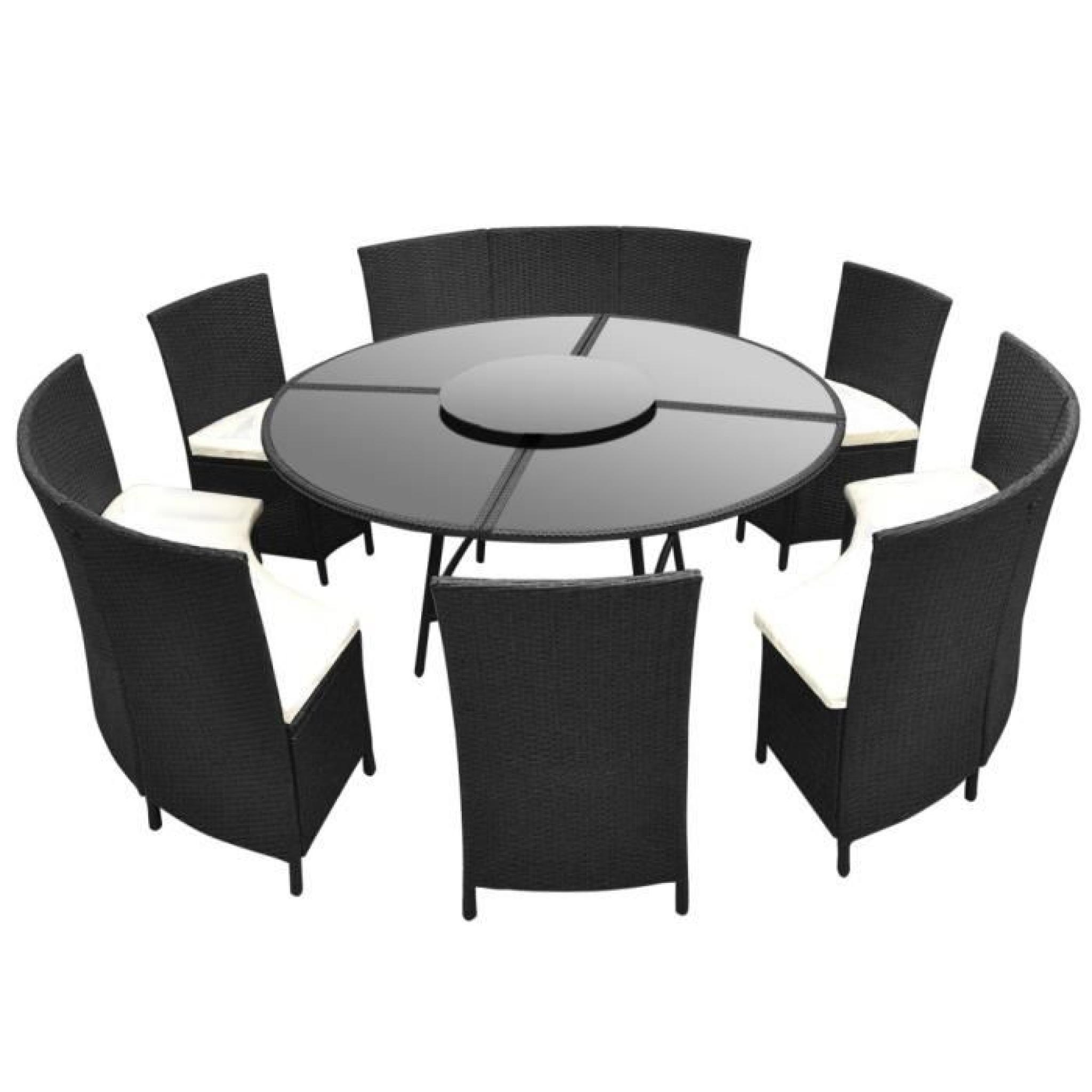 Salon De Jardin Noir En Polyrotin Table Ronde Et Chaises 12 Pers. tout Table Jardin Ronde Pas Cher
