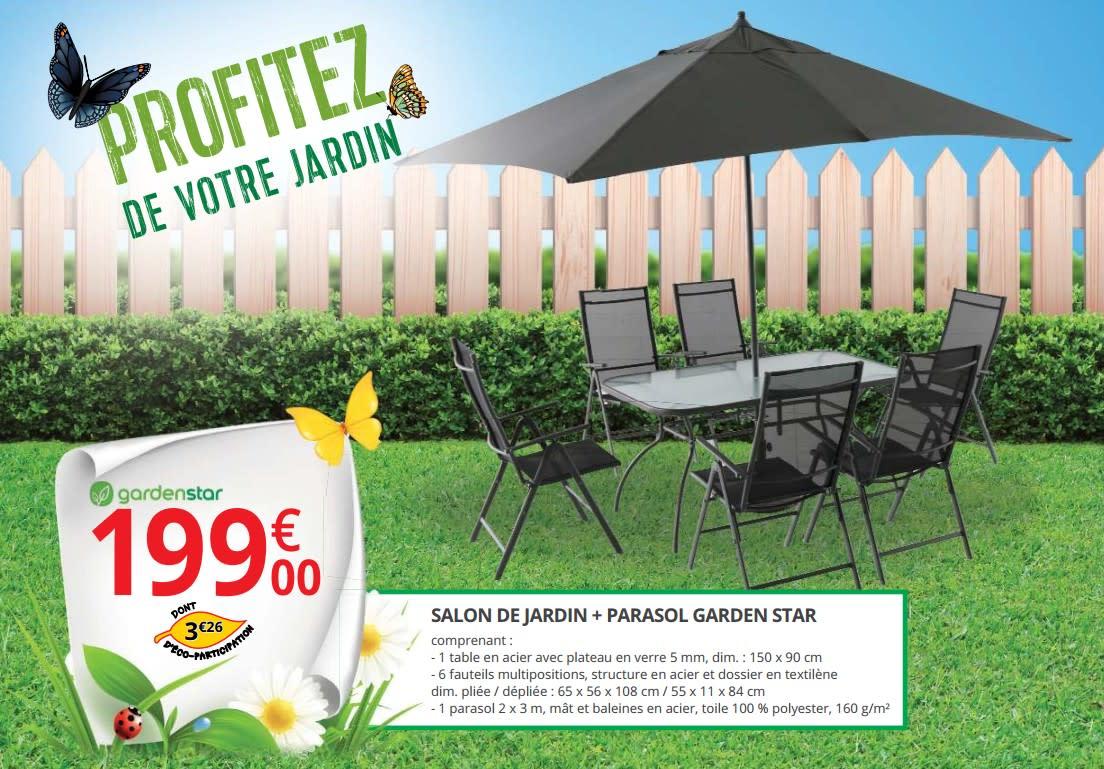 Salon De Jardin + Parasol Gardenstar serapportantà Auchan Salon De Jardin