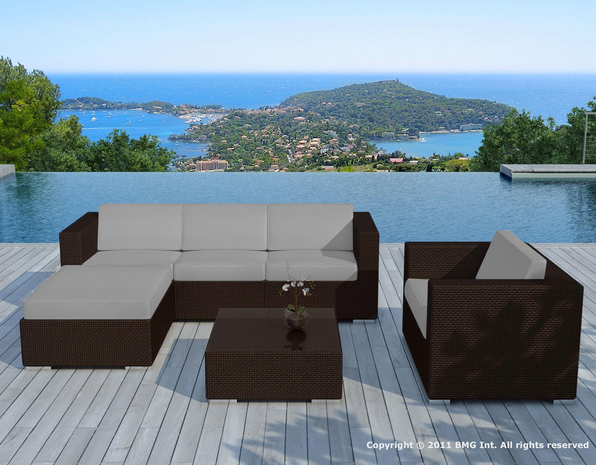 Salon De Jardin Resine Chocolat/gris - Copacabana - Delorm Design dedans Salon De Jardin En Resine Gris