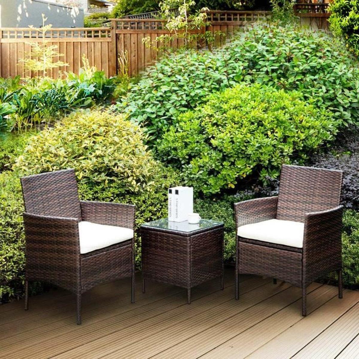 Salon De Jardin Resine Tressee 3 Pieces destiné Cdiscount Salon De Jardin En Resine