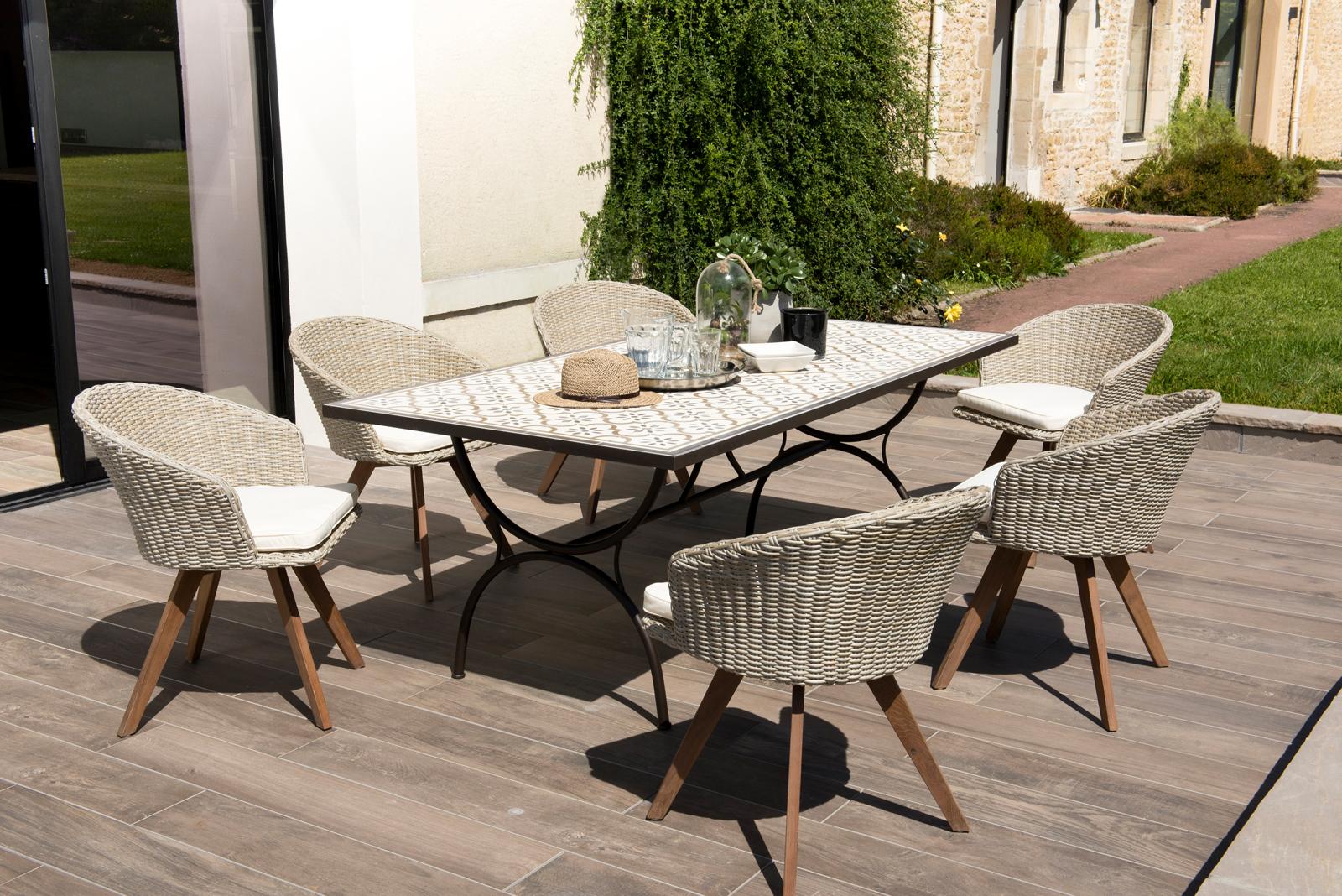 Salon De Jardin Summer (1 Table De Jardin 200X100 Carreaux De Ciment, 6  Fauteuils De Jardin) serapportantà Table De Jardin En Ciment