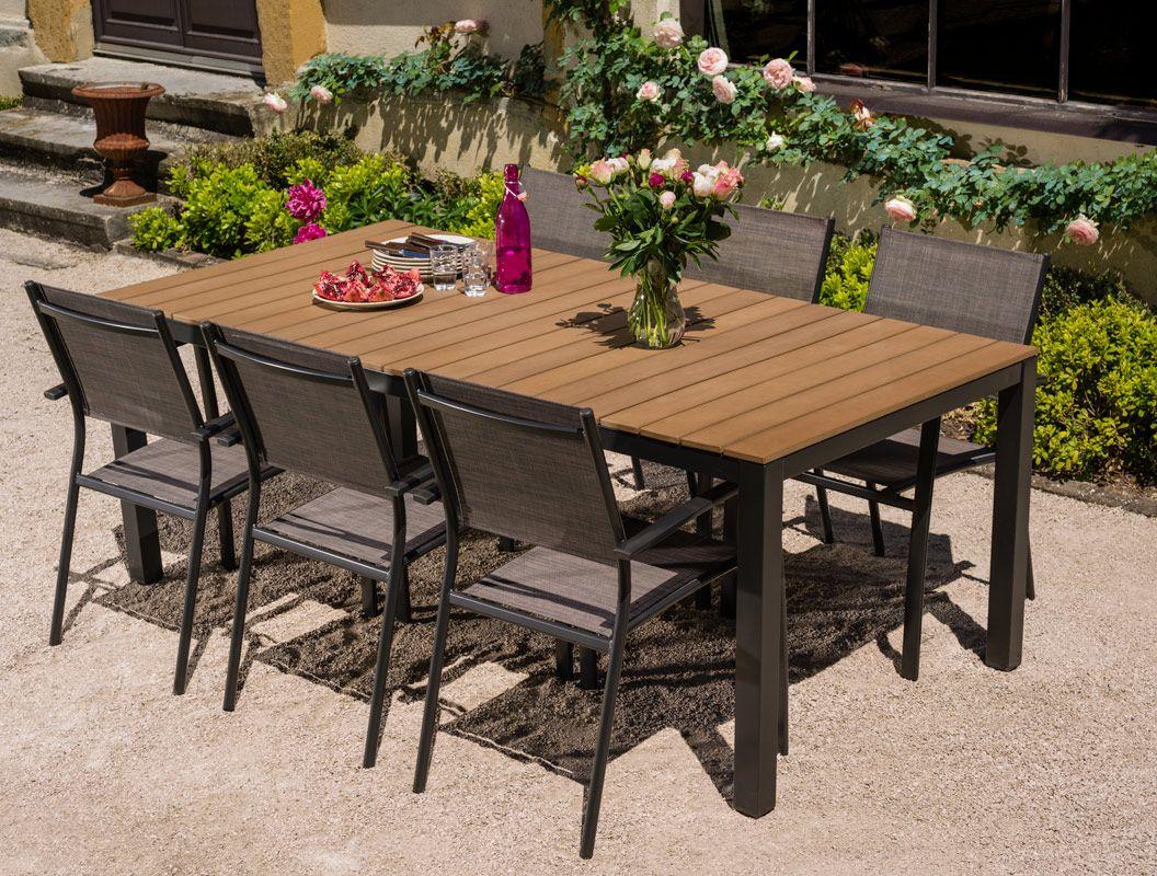 Salon De Jardin: Table Bilbao 2M + 6 Fauteuils Antalya En ... dedans Salon De Jardin Gamm Vert