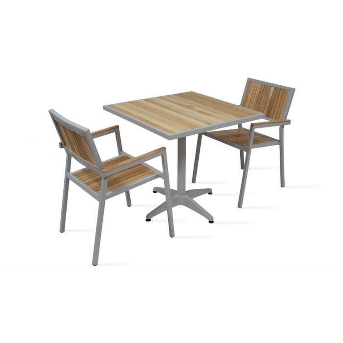 Salon De Jardin - Table Carrée Et 2 Chaises En Alu Et Bois ... destiné Table Et Chaise De Jardin En Bois