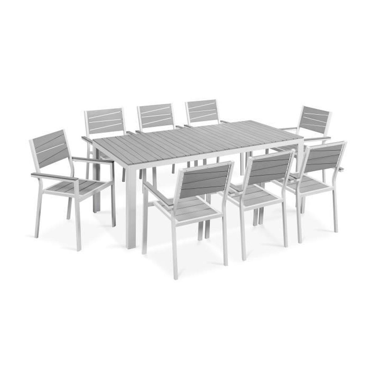 Salon De Jardin Table Et Chaises Accoudoir Aluminium dedans Salons De Jardin Pas Cher