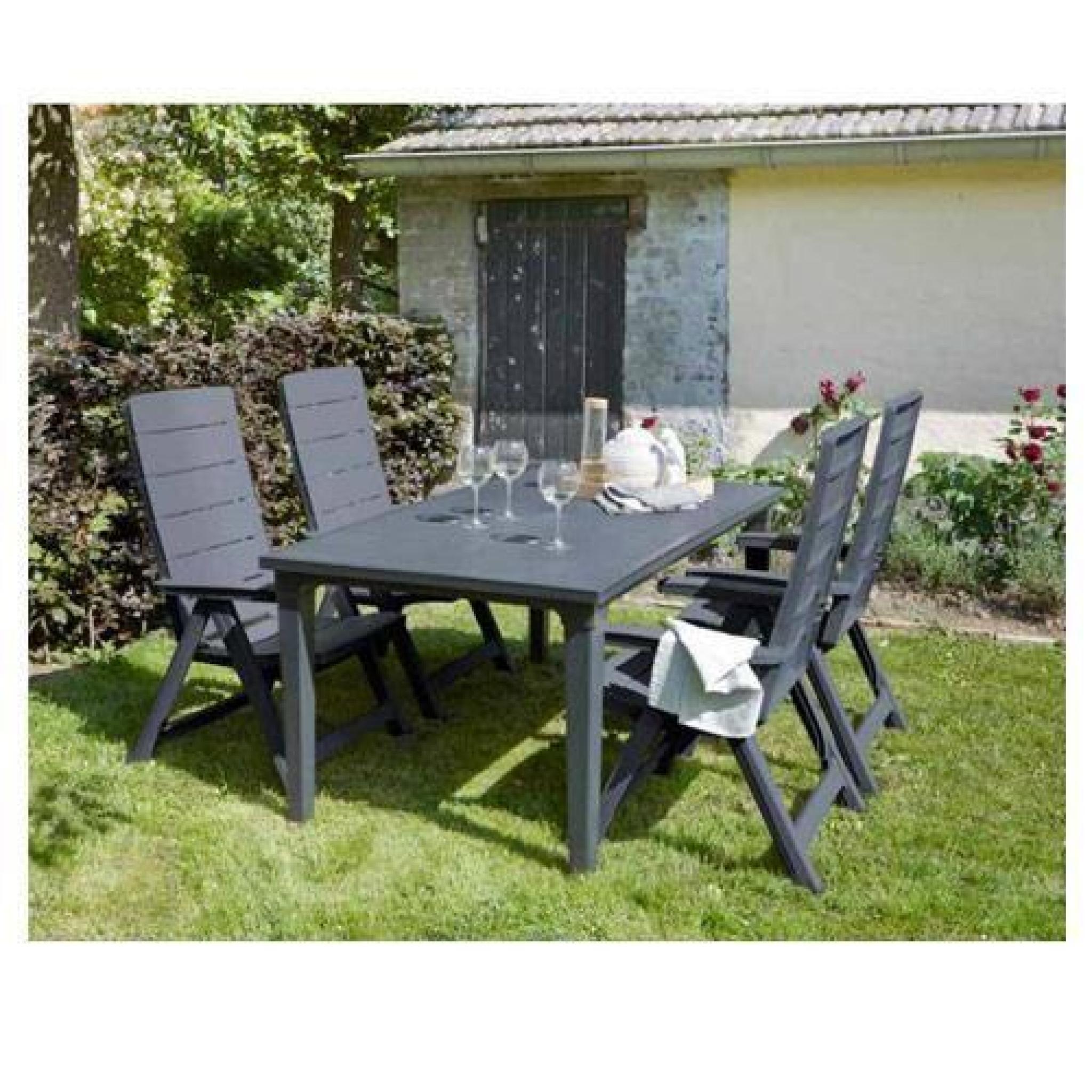 Salon De Jardin: Table Graphite + 4 Fauteuils Graphite encequiconcerne Salon De Jardin En Bois Pas Cher