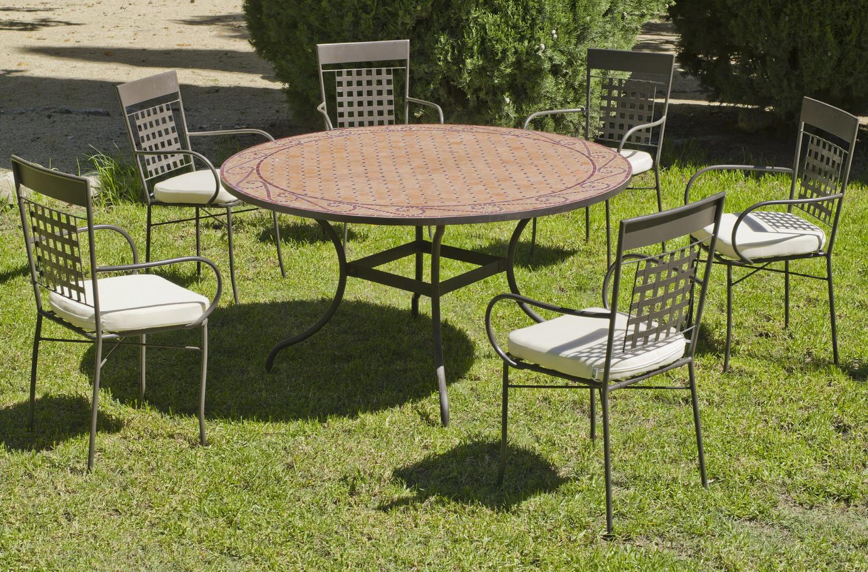 Salon De Jardin Table Mosaique Ø140 + 6 Fauteuils | Table ... dedans Salon De Jardin Mosaique