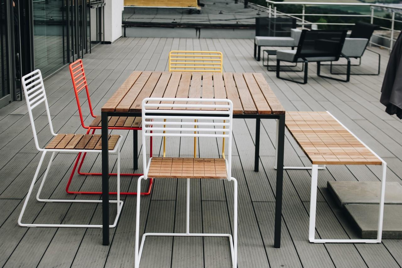 Salon De Jardin, Table Rectangulaire Cora, Banc Bistrot Et 4 ... à Salon De Jardin Cora