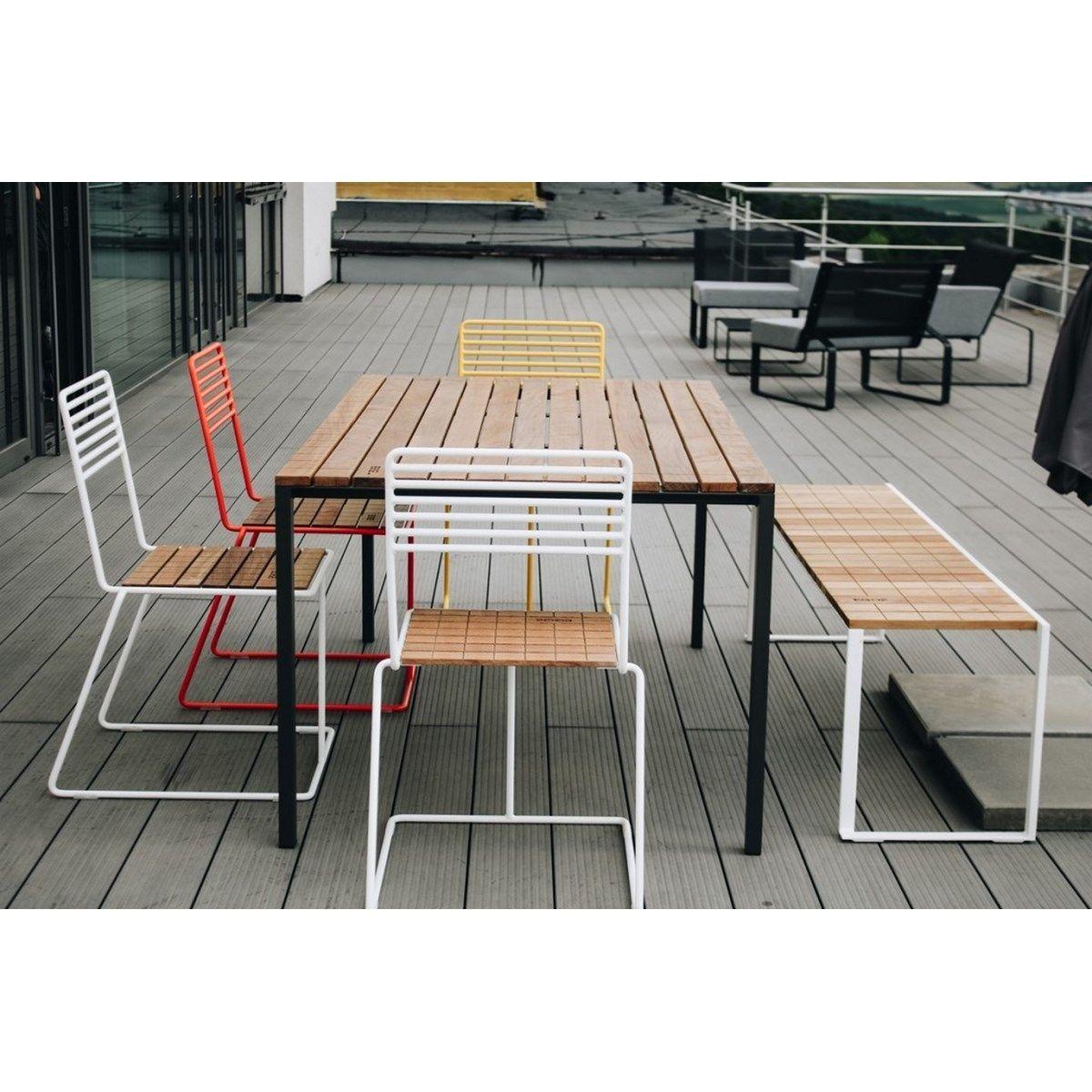 Salon De Jardin Table Rectangulaire Cora Banc Bistrot Et 4 ... destiné Table De Jardin Cora