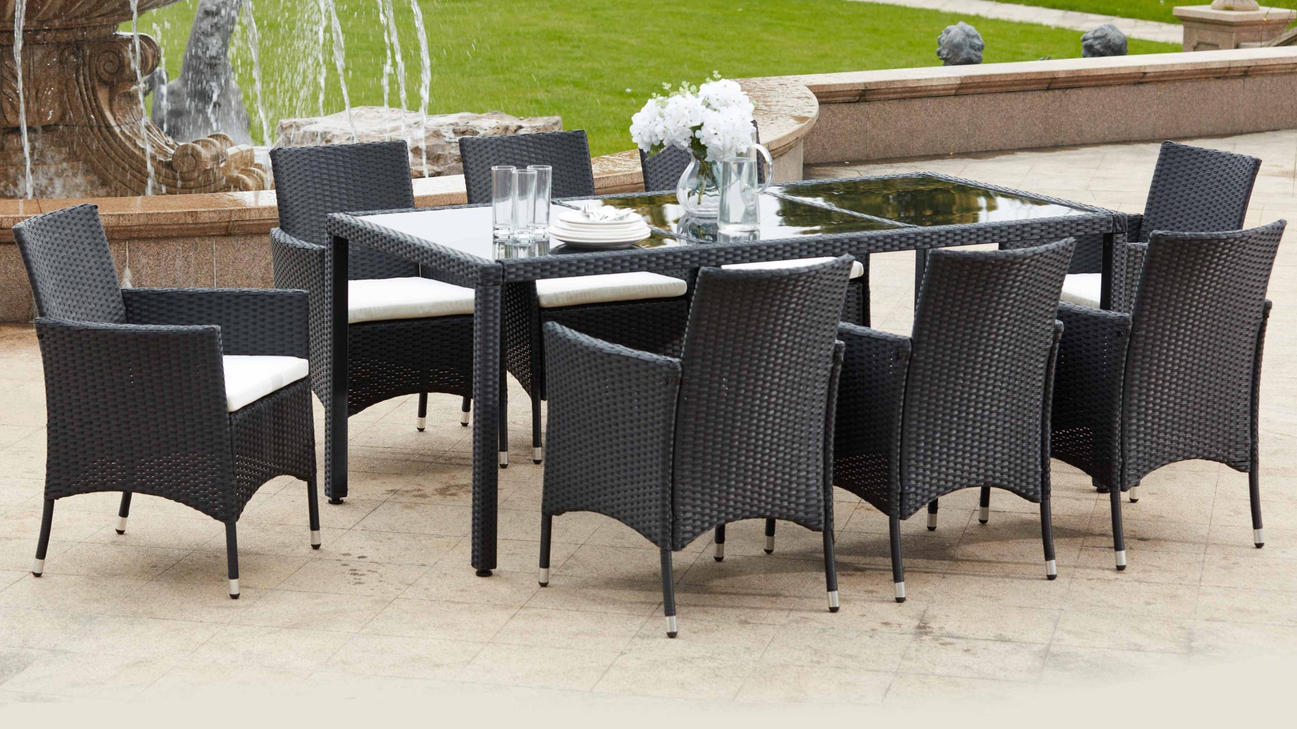 Salon De Jardin Table Résine Tressée 8 Fauteuils destiné Table Et Chaise De Jardin Solde