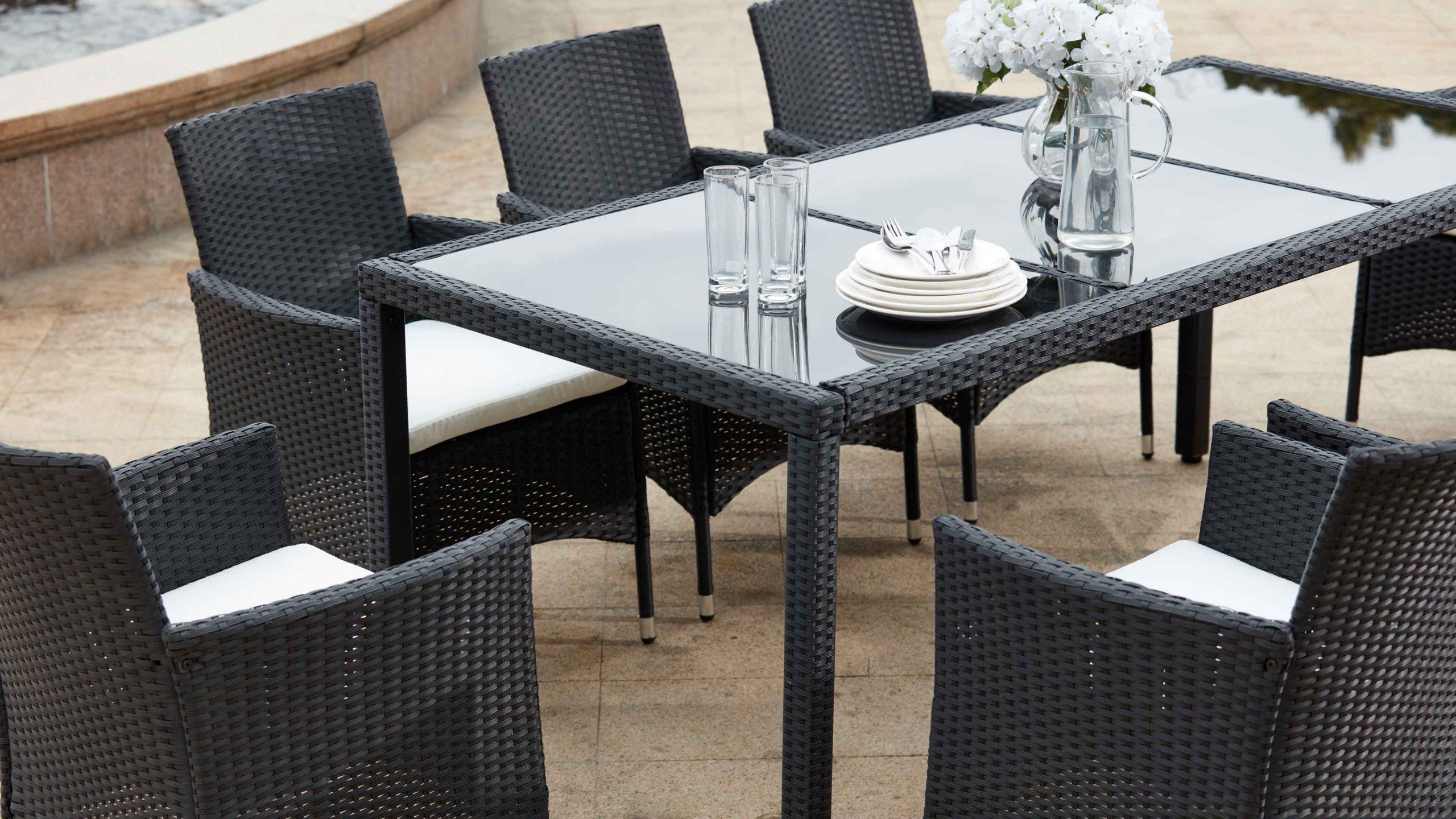 Salon De Jardin Table Résine Tressée 8 Fauteuils intérieur Table Et Chaise De Jardin En Resine Tressee