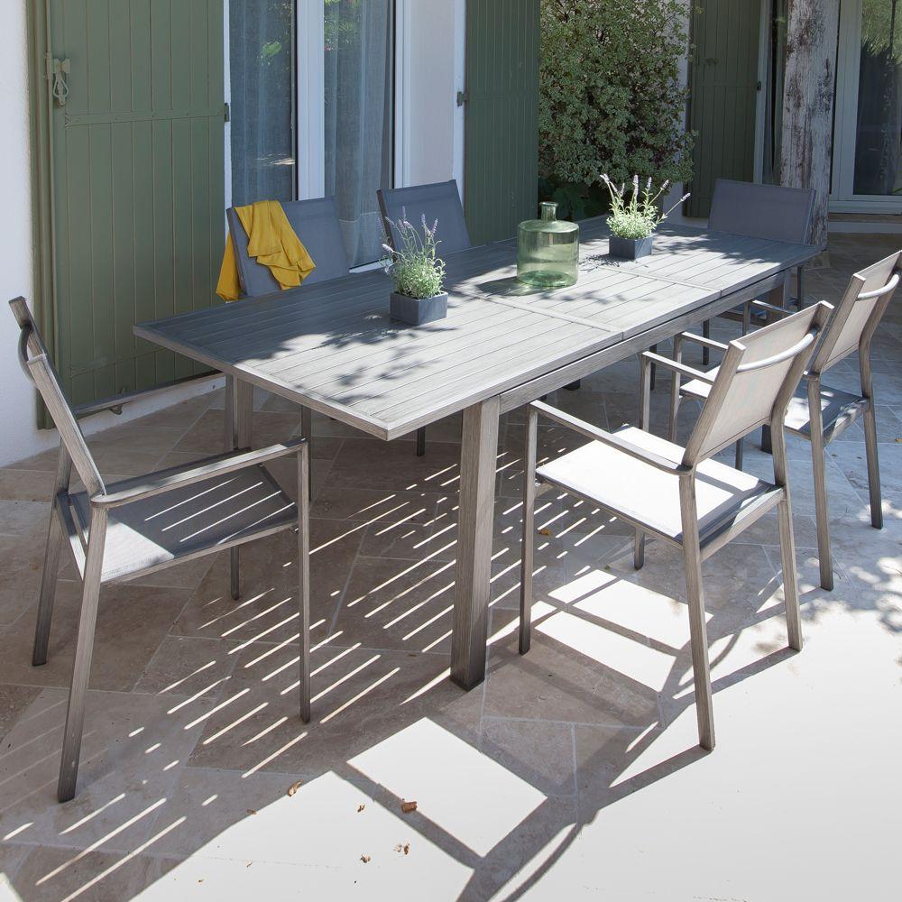 Salon De Jardin : Table Trieste L180/240 L102 Cm + 6 Fauteuils Thema Argent pour Salon De Jardin Gamm Vert
