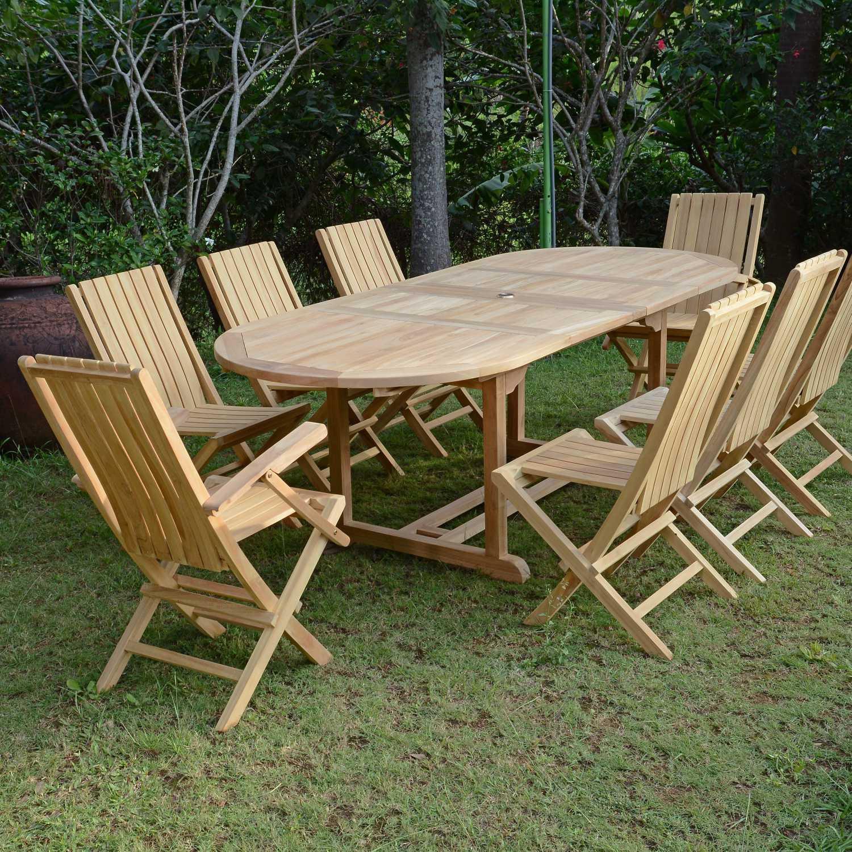 Salon De Jardin Teck Ecograde Fuji, 6 Chaises Et 2 Fauteuils tout Salon De Jardin Teck Massif
