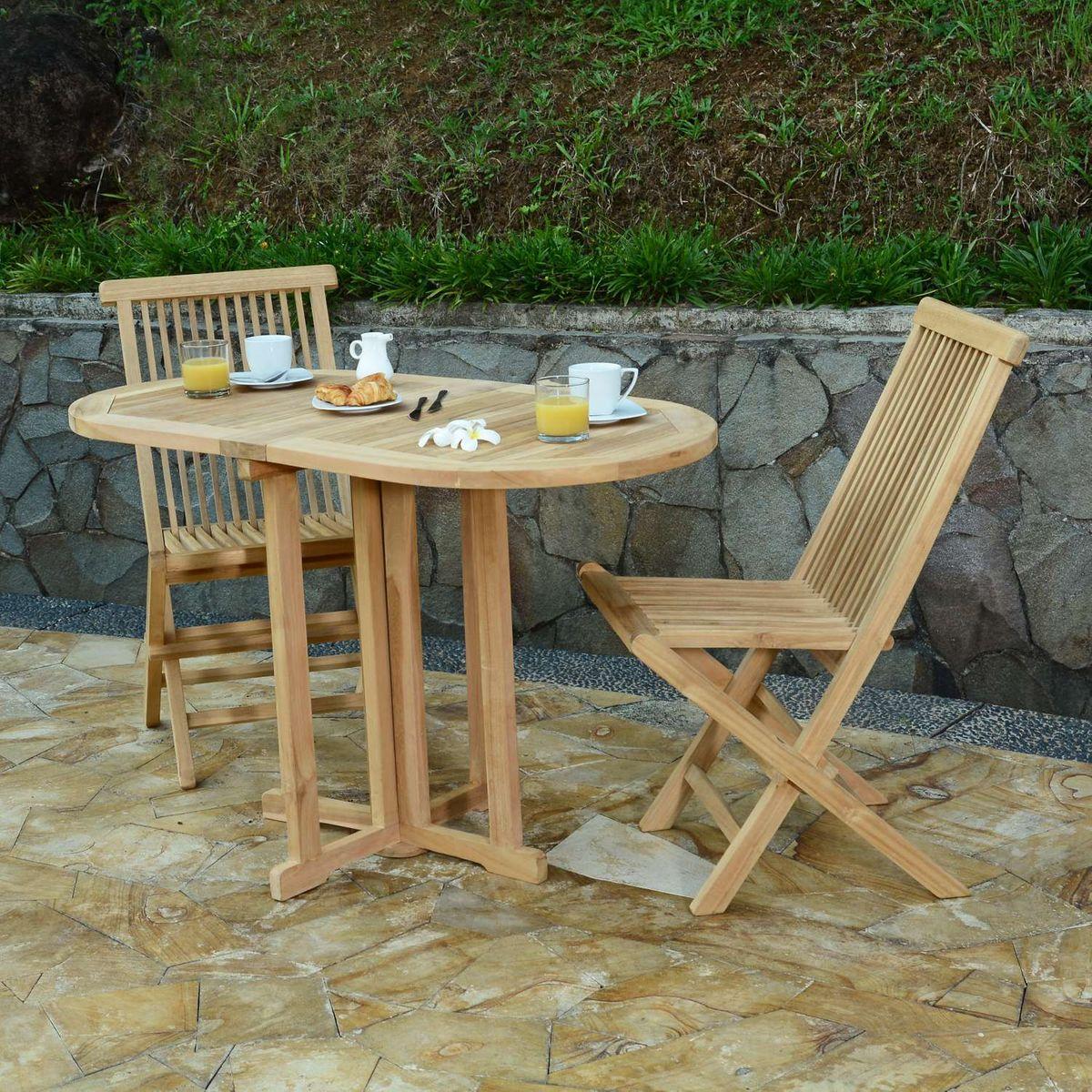 Salon De Jardin Teck Ecograde Tahiti, 2 Chaises - Taille ... destiné Table Et Chaise De Jardin En Teck Pas Cher