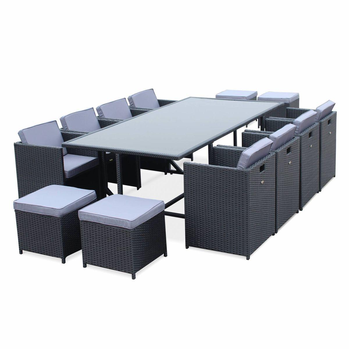 Salon De Jardin Vasto Noir Table En Résine Tressée 8 À 12 ... destiné Table De Jardin Auchan