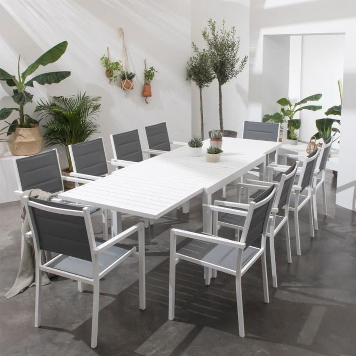 Salon De Jardin Venezia Extensible En Textilène Gris 10 ... intérieur Salon De Jardin C Discount