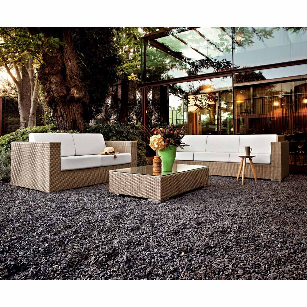 Salon D'extérieur Moderne Varaschin Cora, Aluminium + Fibre Tressée avec Cora Salon De Jardin