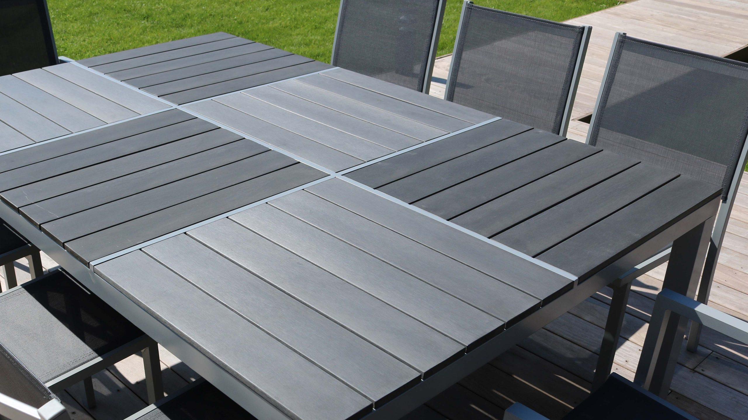 Salon Jardin Aluminium 1 Table Et 8 Fauteuils Textilène avec Table De Jardin Aluminium Et Composite