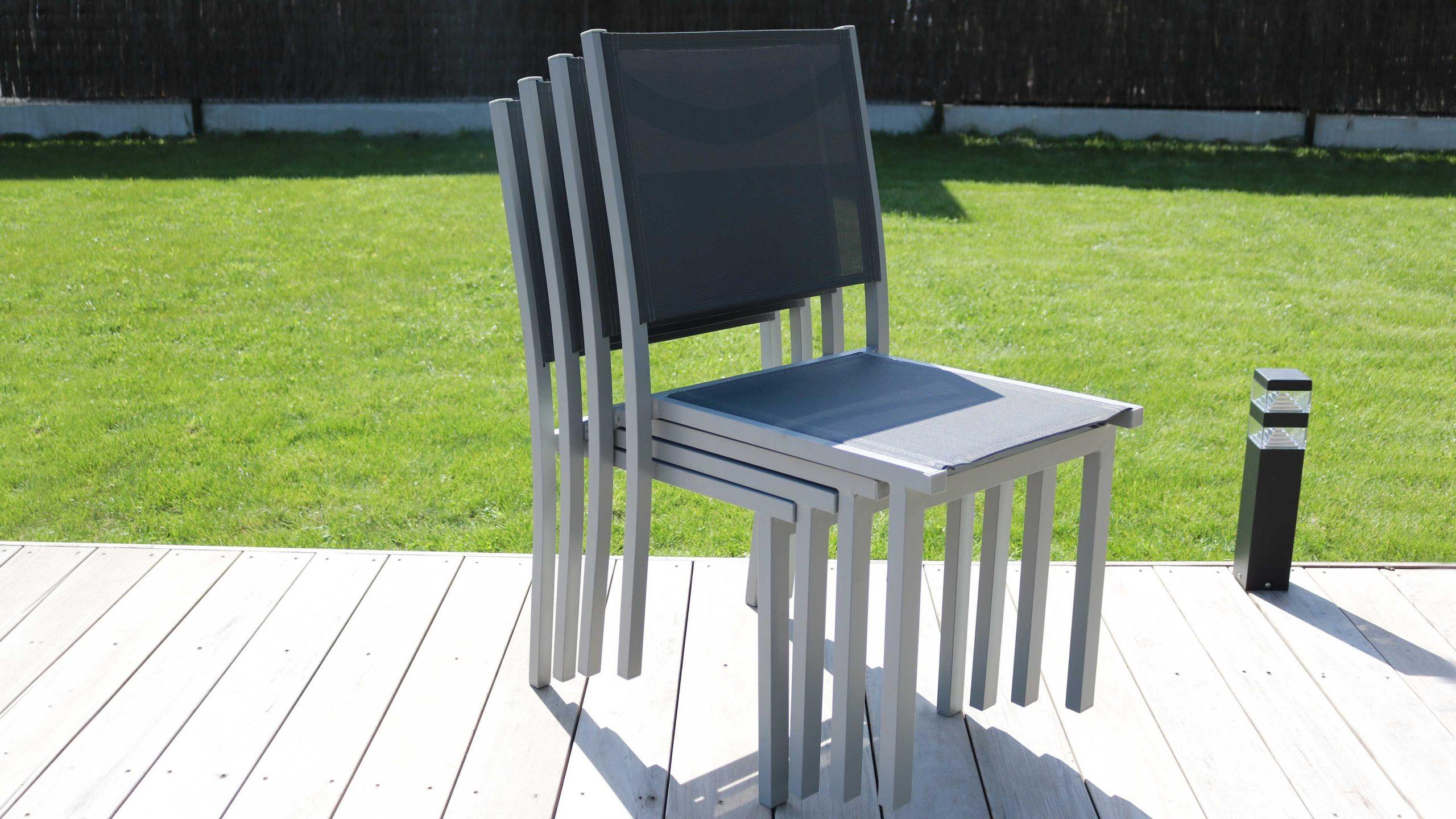 Salon Jardin Aluminium 1 Table Et 8 Fauteuils Textilène avec Table Et Chaises De Jardin Pas Cher
