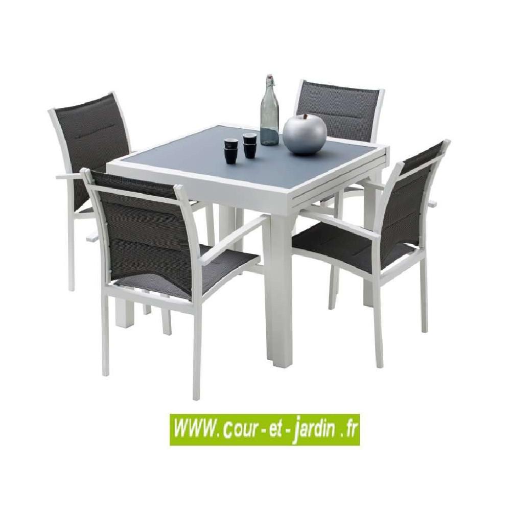 Salon Jardin Aluminium Modulo 4 Blanc, 4 Fauteuils Avec ... destiné Table Jardin 4 Personnes