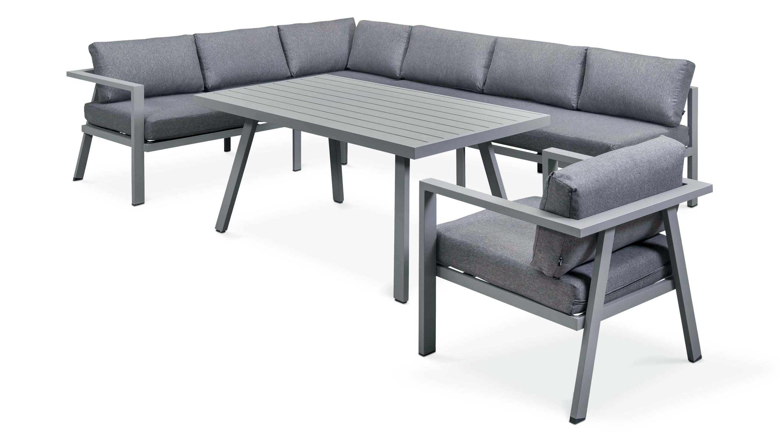 Salon Jardin Table Fauteuil Canapé D'angle pour Salon De Jardin Aluminium Et Composite