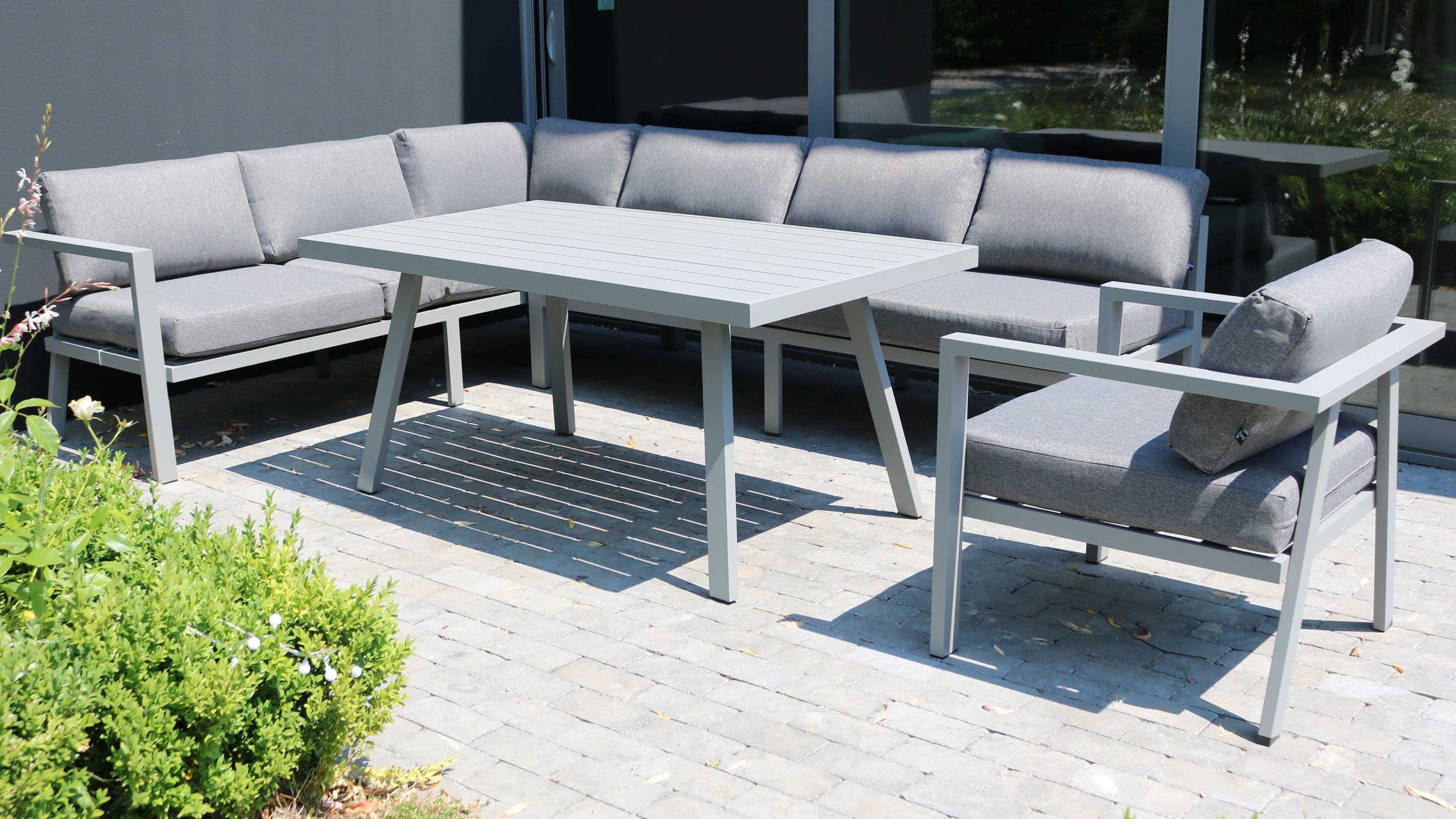 Salon Jardin Table Fauteuil Canapé D'angle tout Salon De Jardin Aluminium Et Composite