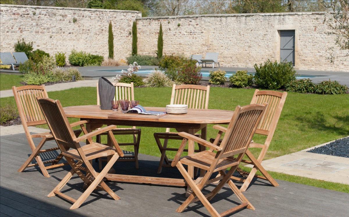 Salon Jardin Teck Table Ovale 150/200Cm 4 Chaises 2 Faut. Summer destiné Salon De Jardin Teck Massif