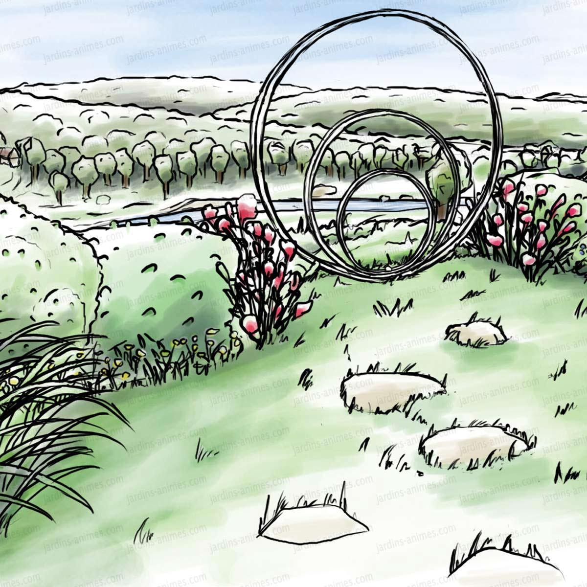 Sculpture De Jardin Ronde - Anneaux De Fer Concentriques encequiconcerne Jardins Animés Sculpture