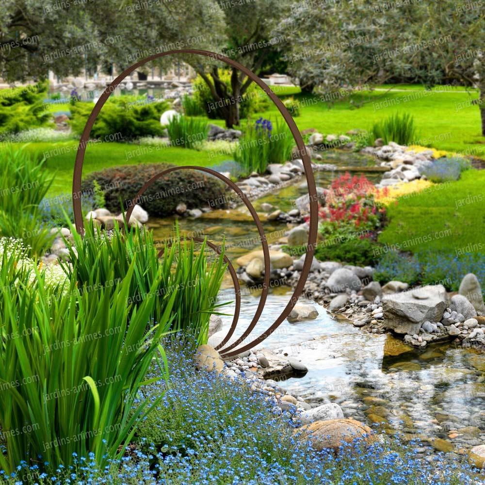 Sculpture De Jardin Ronde - Anneaux De Fer Concentriques intérieur Deco Metal Jardin